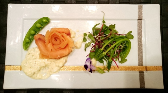 Smoked salmon trout rosette with asparagus Edible flowers, ravigotte sauce