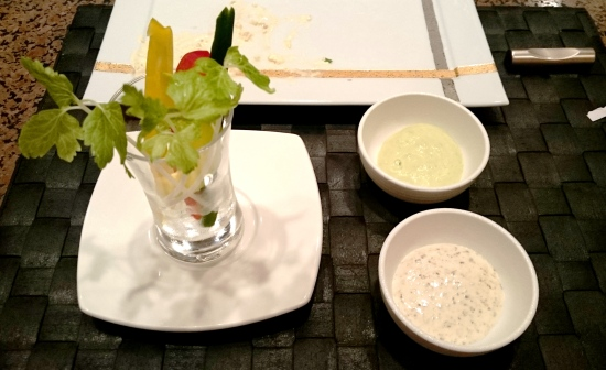 """Stick vegetables salad with dipping sauces Carrot, celery, cucumber, """"Daikon"""" radish, endive and radish Guacamole and mustard mayonnaise"""