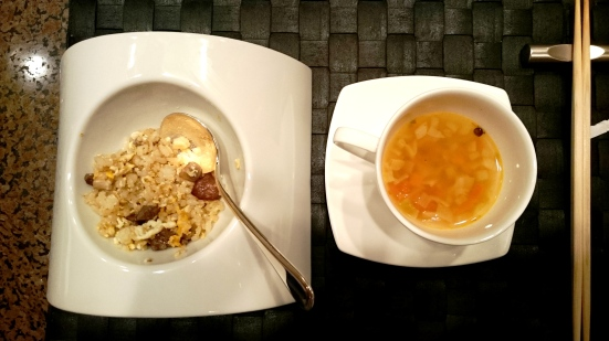 Garlic rice with Japanese beef Lentil and vegetable soup