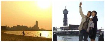 Ban dan Eri di Momocho Seaside Park (kiri) dan Bayside Place Hakata Pier (kanan)